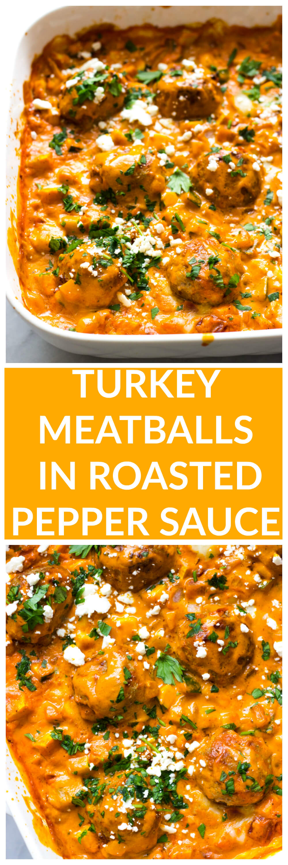 Turkey Meatballs in Roasted Pepper Sauce - made with no cream or cheese, this roasted pepper sauce is made with cashews then baked with healthy turkey meatballs and simple veggie hash | littlebroken.com @littlebroken