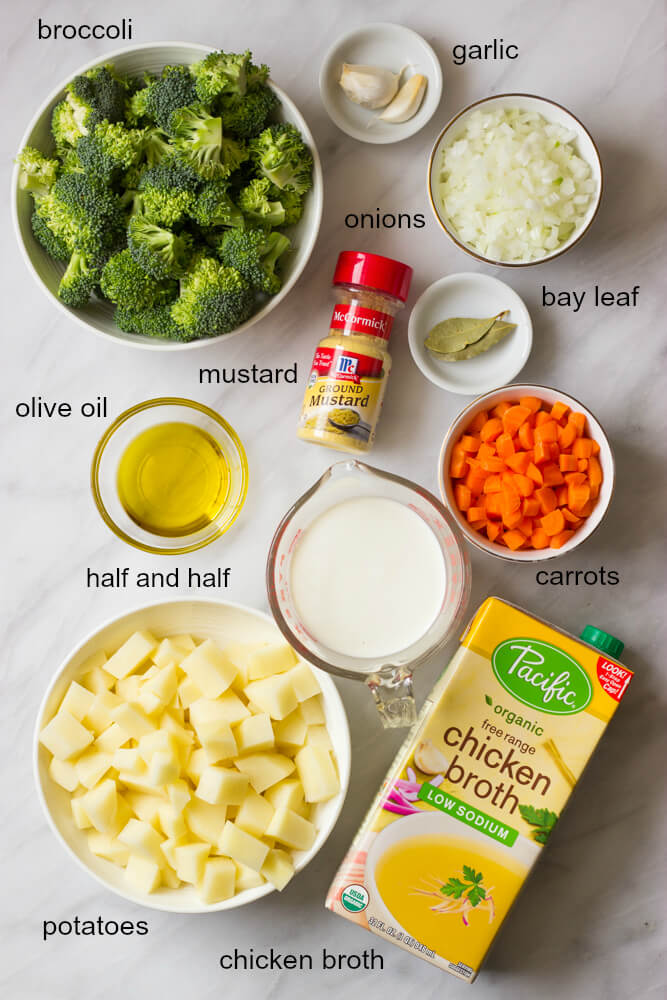 Easy Broccoli Potato Soup - creamy, thick, and belly warming good. This broccoli potato soup is made with fraction of the cheese and cream | littlebroken.com