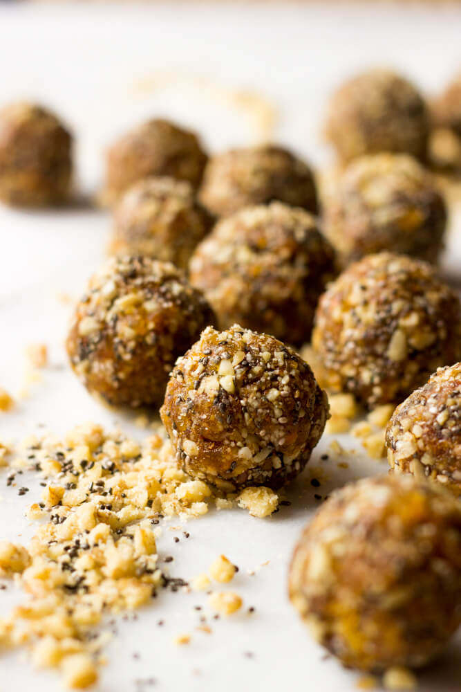 Superfood Energy Balls - made with nuts, dried fruit, flax, and chia