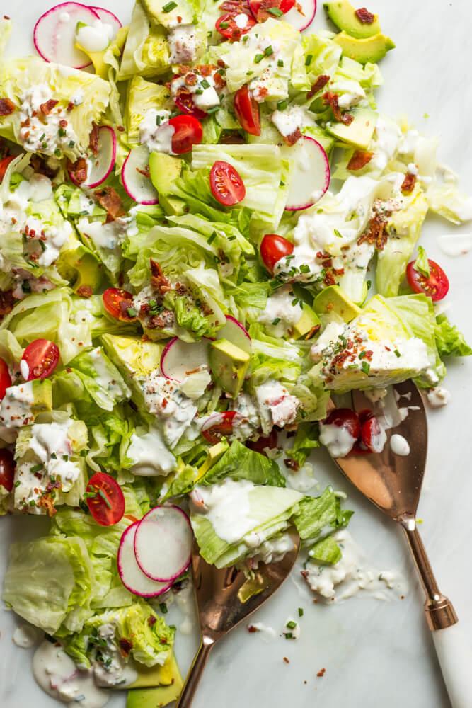 Chopped Wedge Salad with Buttermilk Feta Dressing - easy chopped wedge salad with the most delicious dressing ever! | littlebroken.com @littlebroken