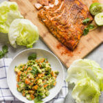 Blackened Salmon Lettuce Wraps with Orange Salsa - the easiest salmon lettuce wraps with insanely delicious orange avocado salsa! Low carb and easy to make | littlebroken.com @littlebroken