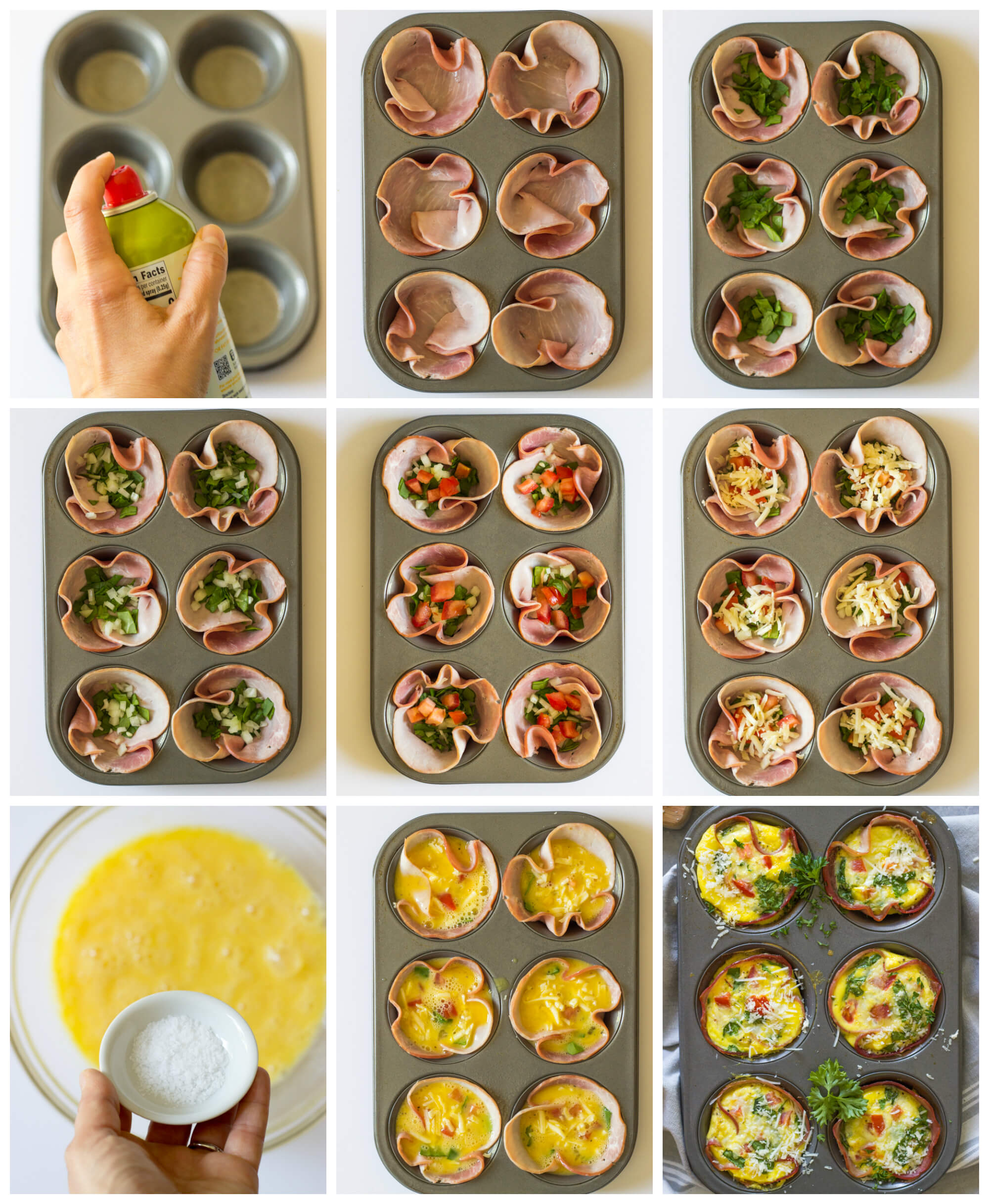 Easy Ham and Egg Muffins - only 6 simple ingredients and these egg muffins practically make themselves! So good with all the veggies and white cheddar cheese | littlebroken.com @littlebroken