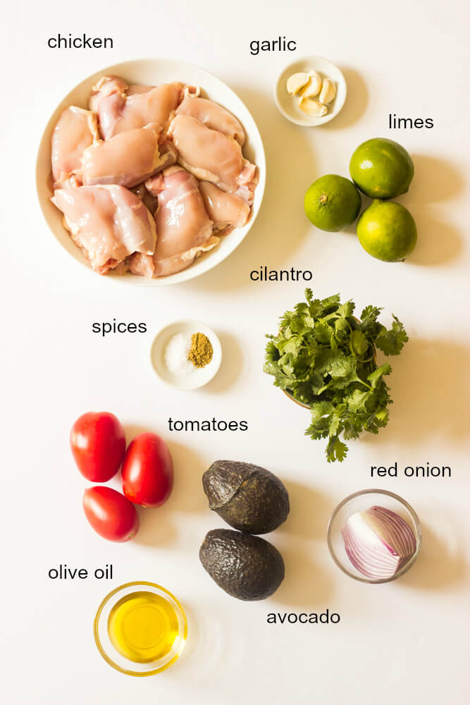 Ingredients for cilantro chicken