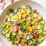 Greek Corn Salad with Avocado - Greek salad with delicious twist! | littlebroken.com