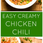 Two vertical images of chicken chili
