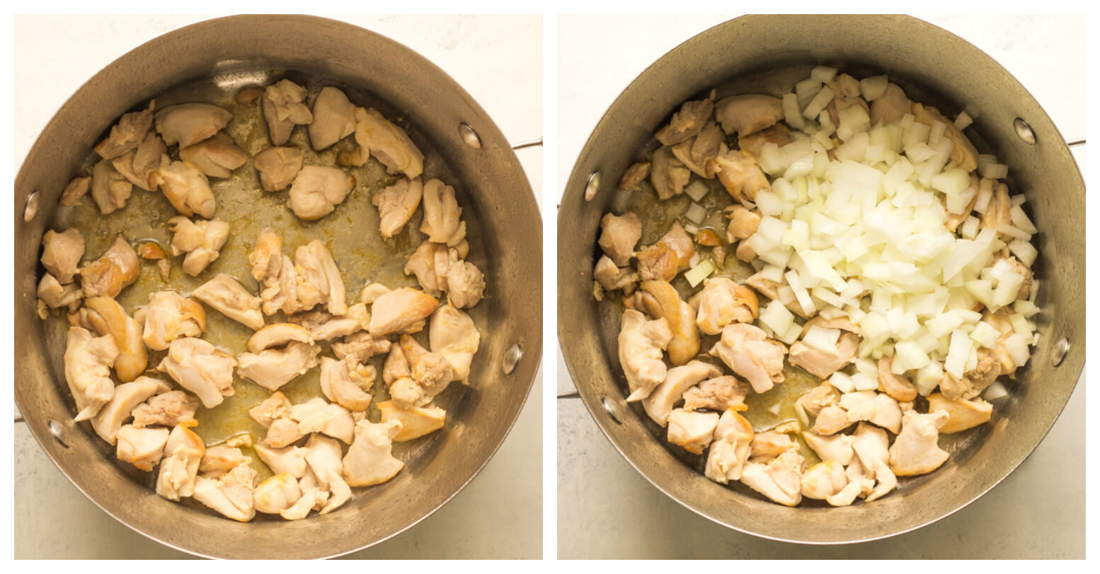 Dutch oven with chicken and onions