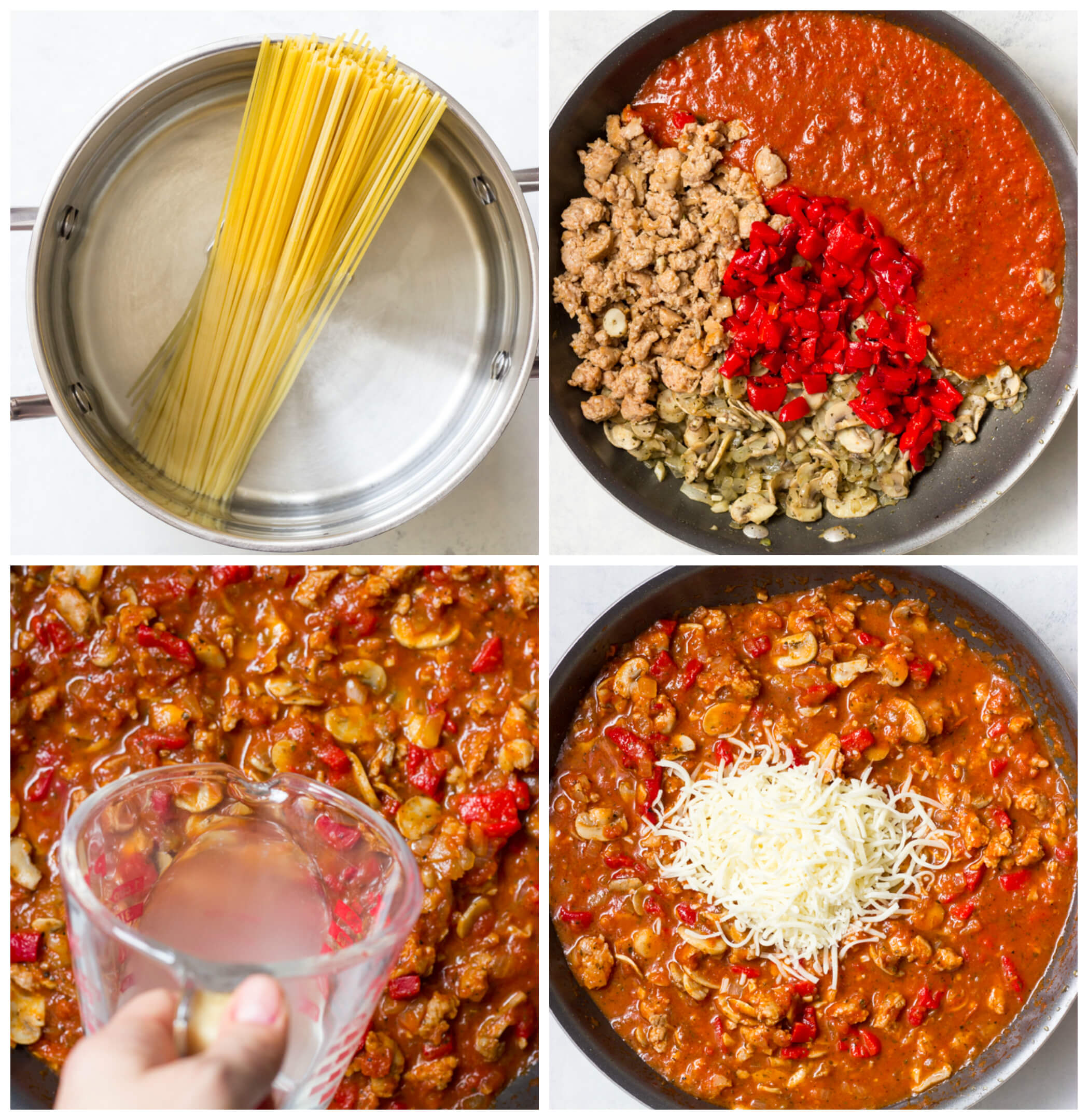 Overheat view of four images showing how to make spaghetti sauce