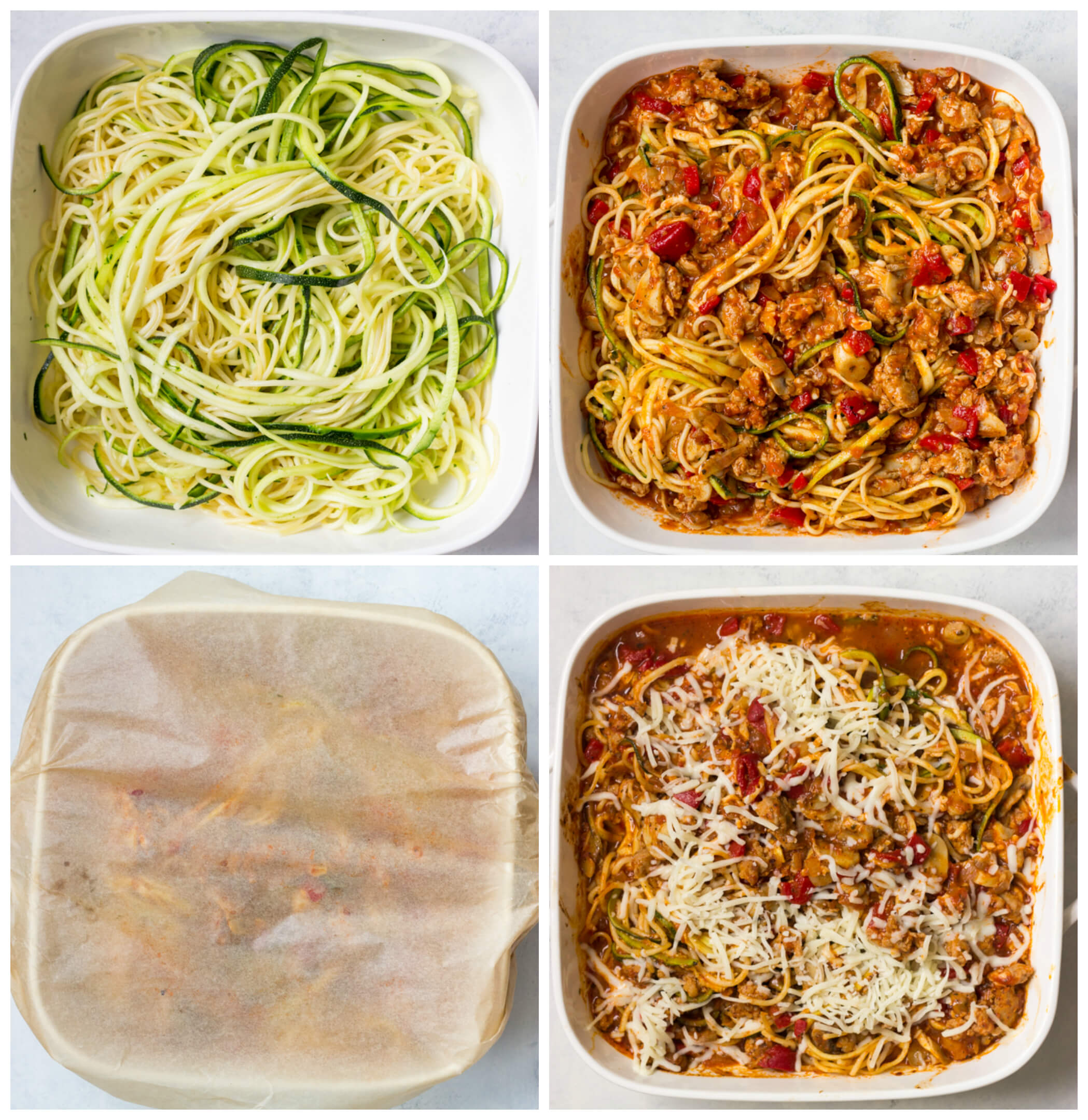 Overhead veiw of four images showing how to make a spaghetti bake