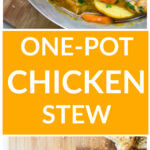 Two long vertical images of chicken stew, one in dutch oven and second in white bowl