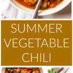 Two long images of vegetable chili one close up and second further out