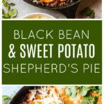 Long image of shepherd's pie with sweet potatoes