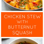 Long image of chicken stew with butternut squash