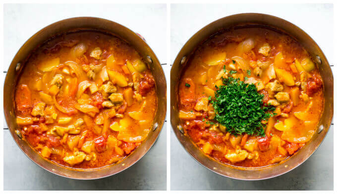 Step by step images on how to make chicken stew