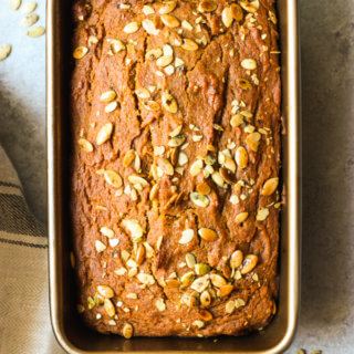 Close up of pumpkin bread in loaf pan