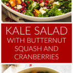 Long image of a kale salad in white bowl