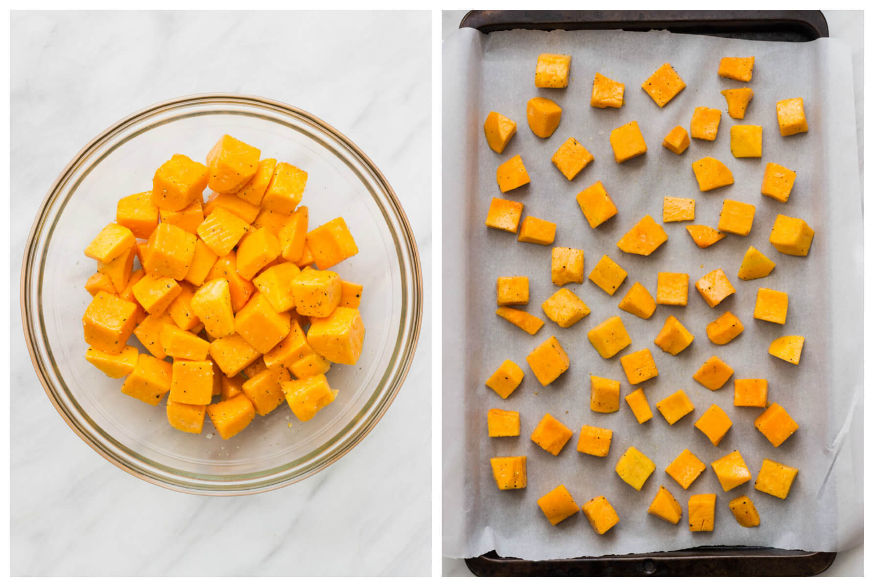 Chopped butternut squash in a bowl and a tray
