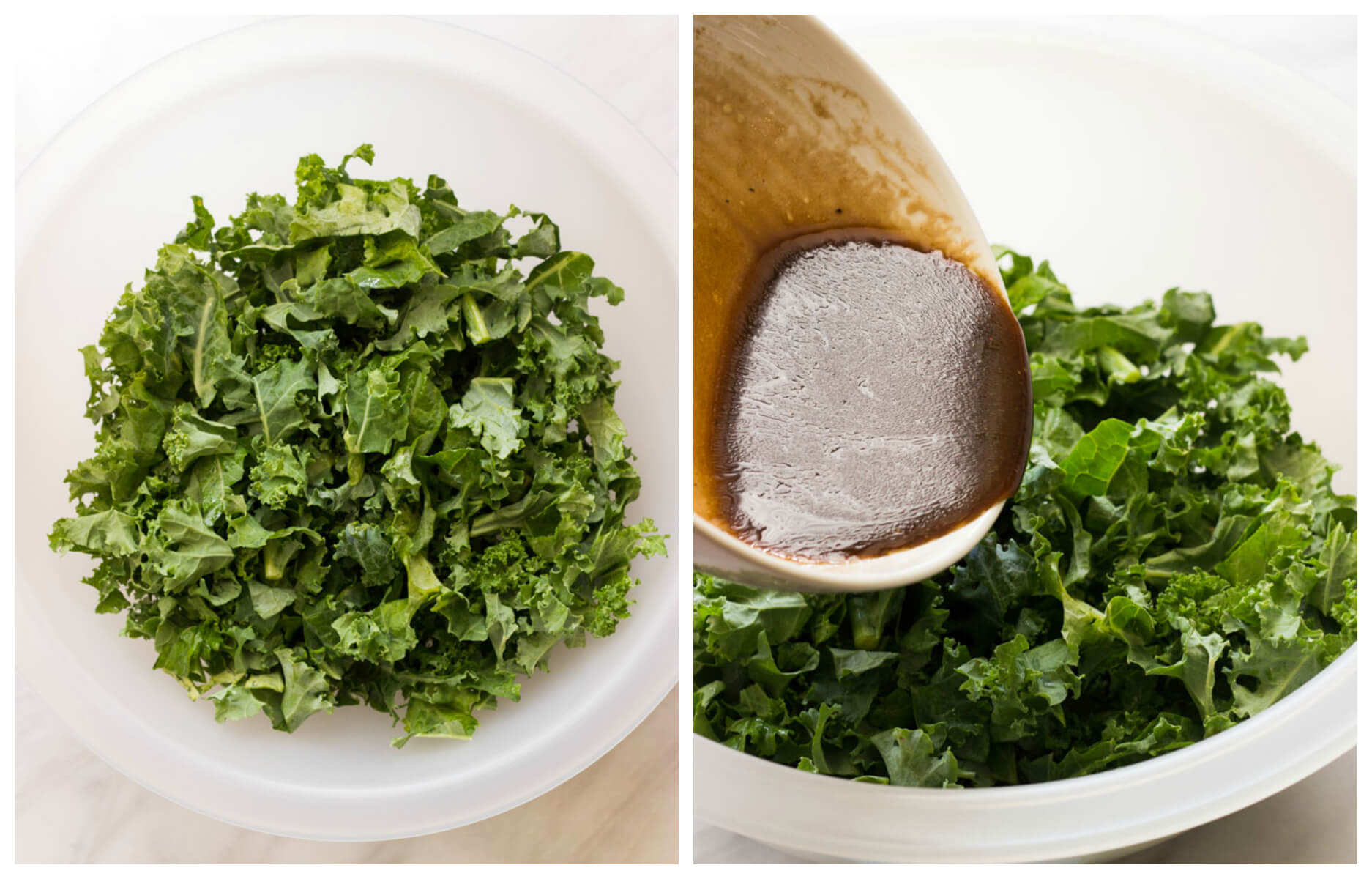 Chopped kale in a large bowl with dressing