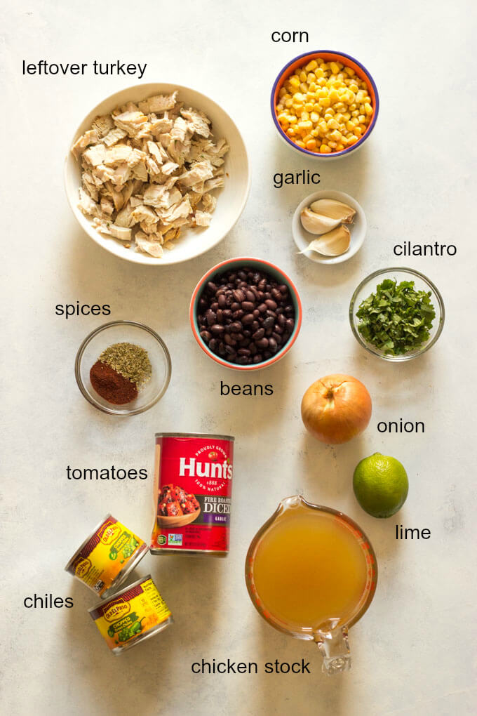 Overview of ingredients for leftover turkey tortilla soup