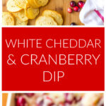 Long vertical image of cranberry dip with title in the middle