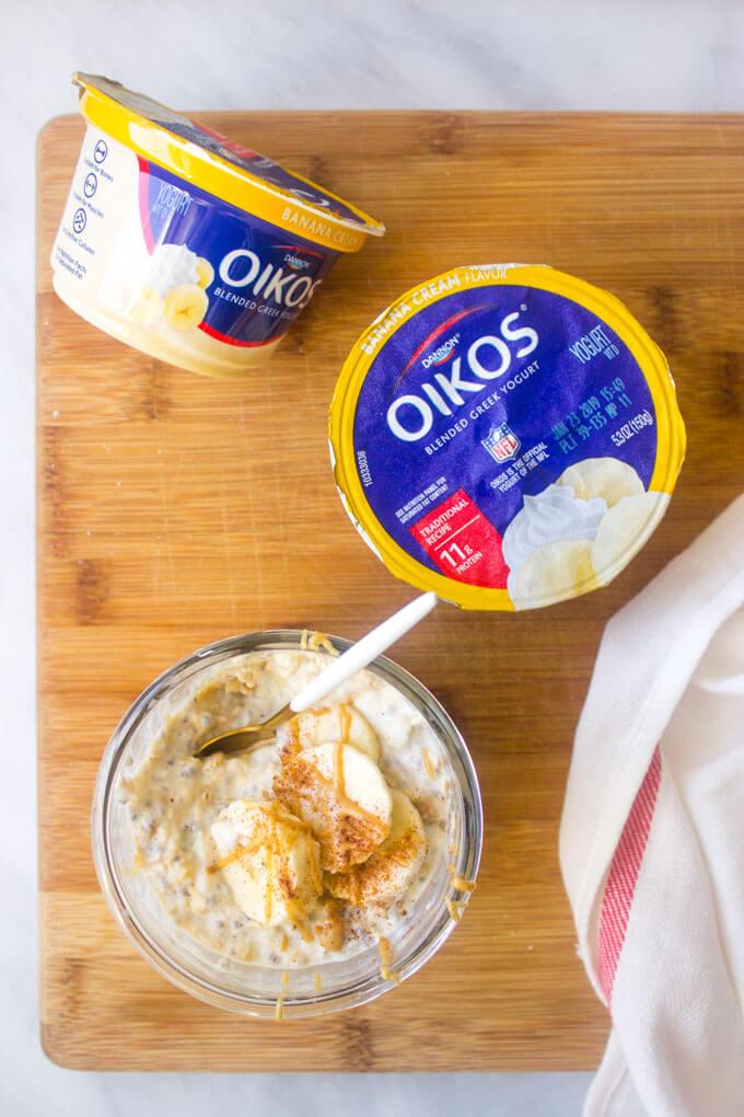Greek yogurt with a side of peanut butter banana overnight oats