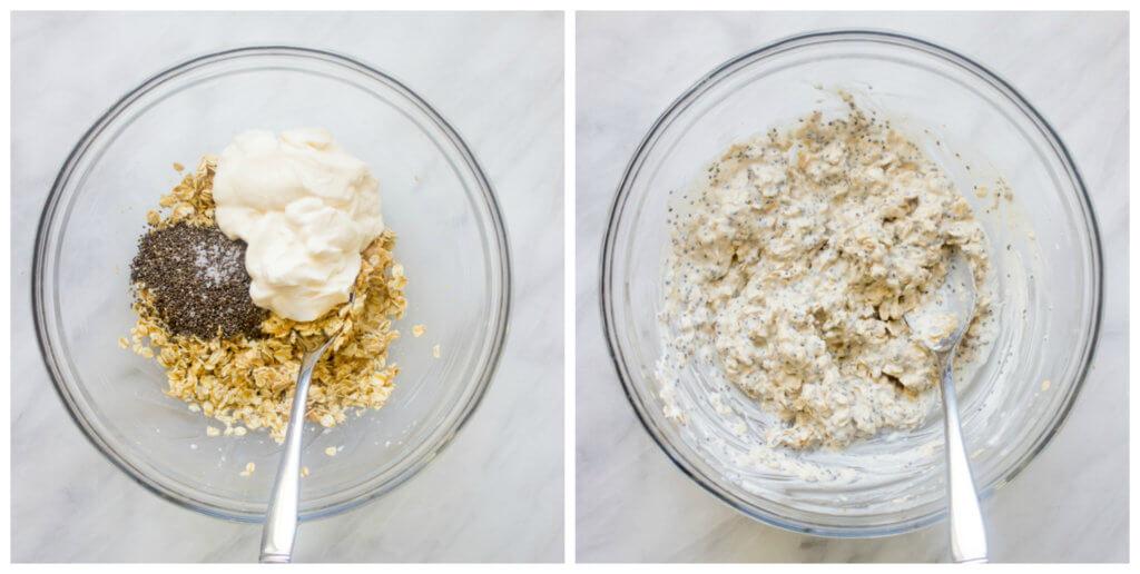 Oatmeal with greek yogurt in a clear glass bowl