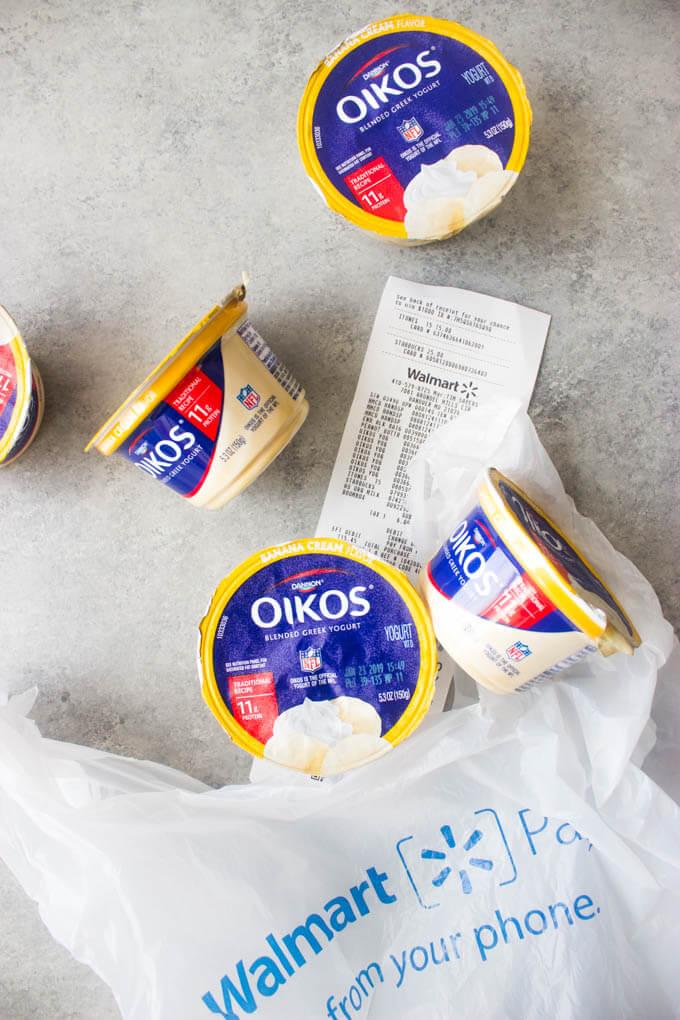 Greek yogurt in a plastic shopping bag