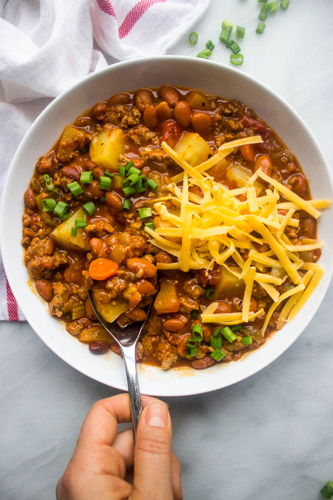 Close up of sweet and spicy chili in white bowl