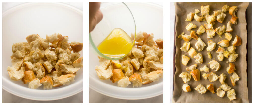 Caesar salad croutons in white bowl