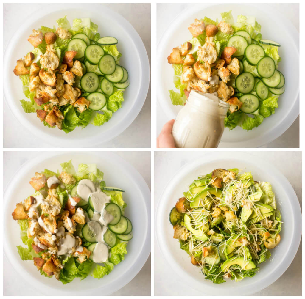 Overhead of chopped romaine in white bowl with cucumbers, avocado, and croutons