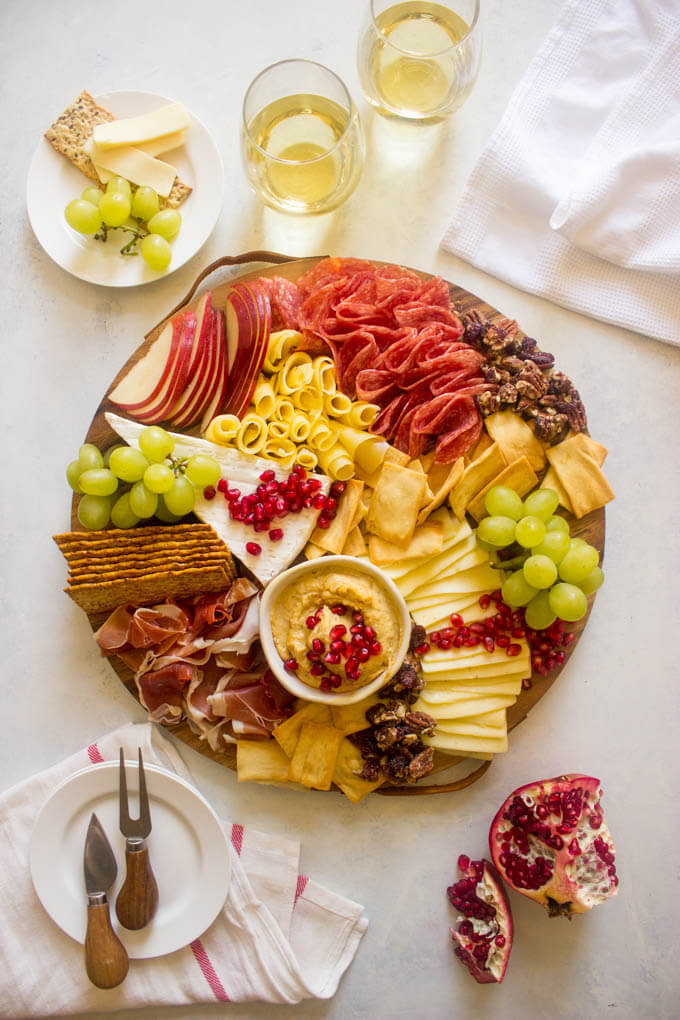 Overview of meat cheese platter