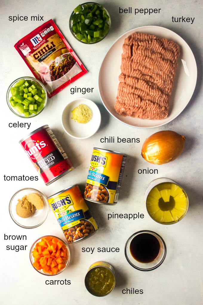 Ingredients for sweet and spicy chili recipe