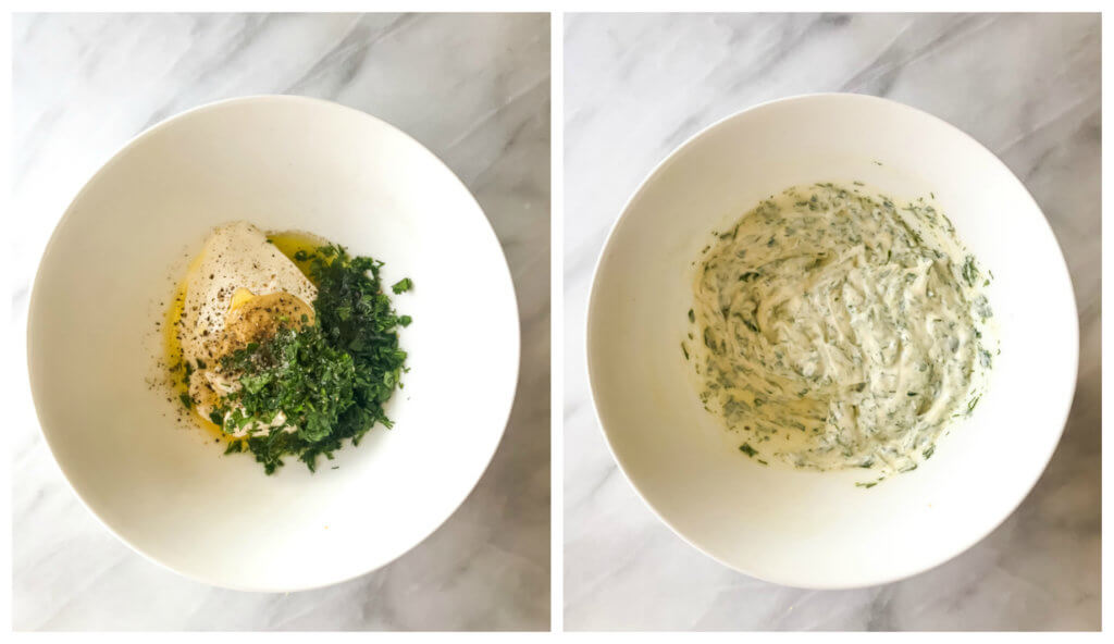 Step by step on how to make sour cream herb dressing.