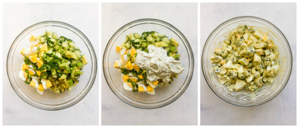 Step by step on how to make avocado egg salad recipe.