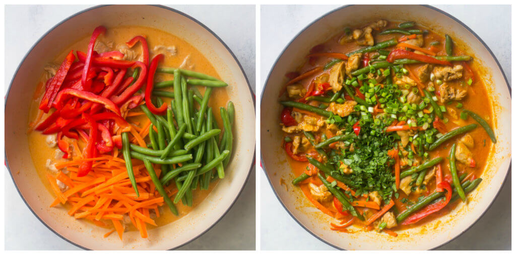 Chopped up vegetables in saute pan with chicken