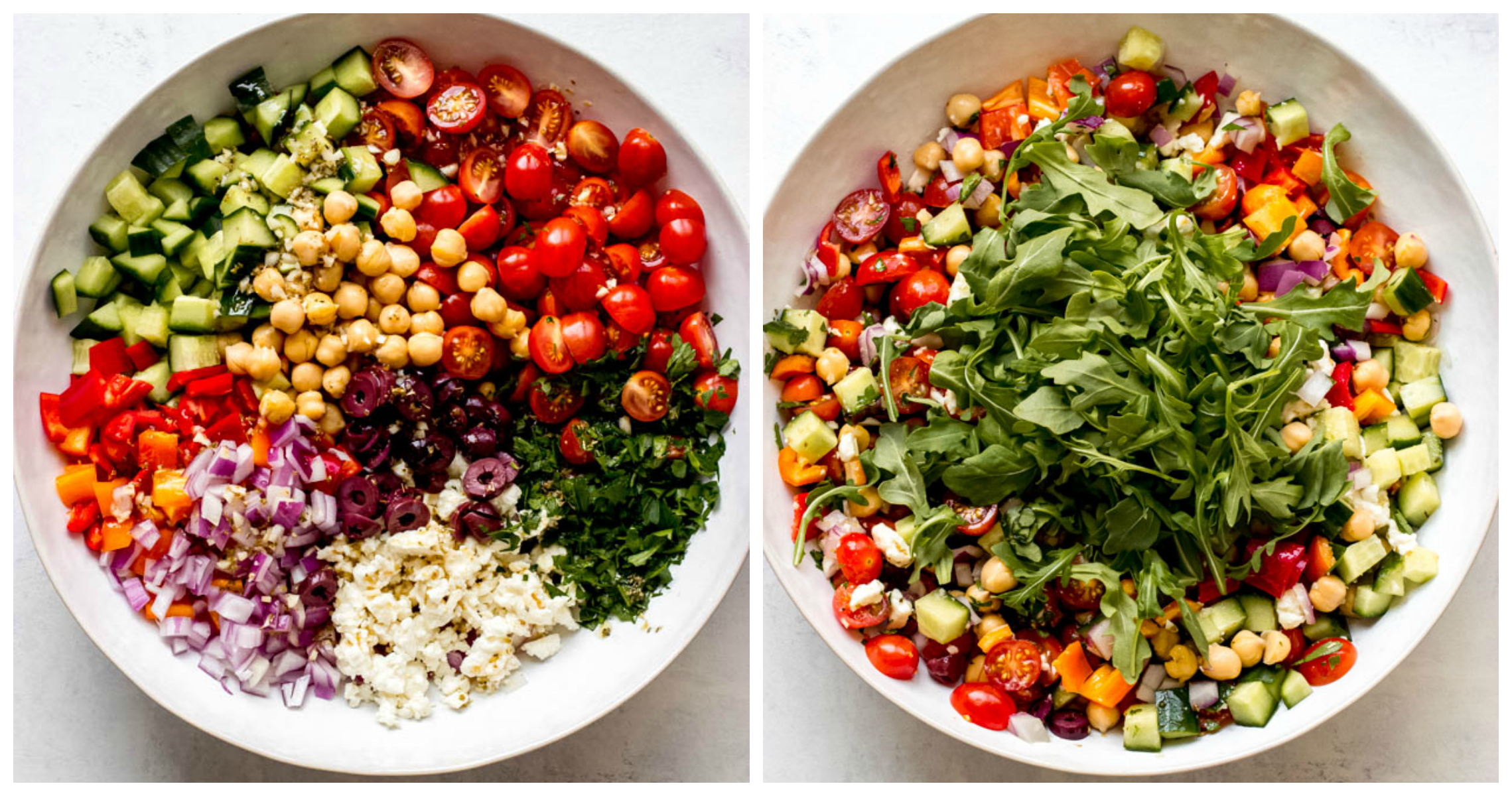Chickpea salad in white bowl with arugula