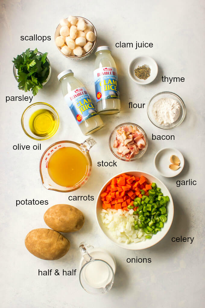 Ingredients for scallop chowder recipe