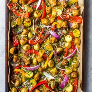 Overhead Italian sausage and peppers recipe in a sheet pan