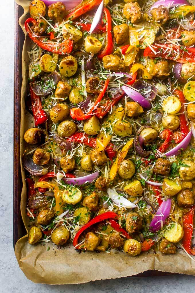 Close up of italian sausage recipe with peppers on a sheet pan