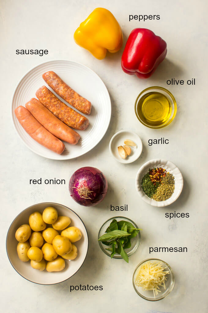 Ingredients for sheet pan sausage and peppers