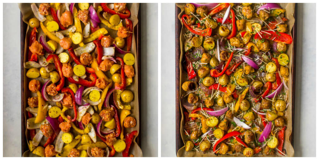 Italian sausage and peppers with fresh herbs on a sheet pan