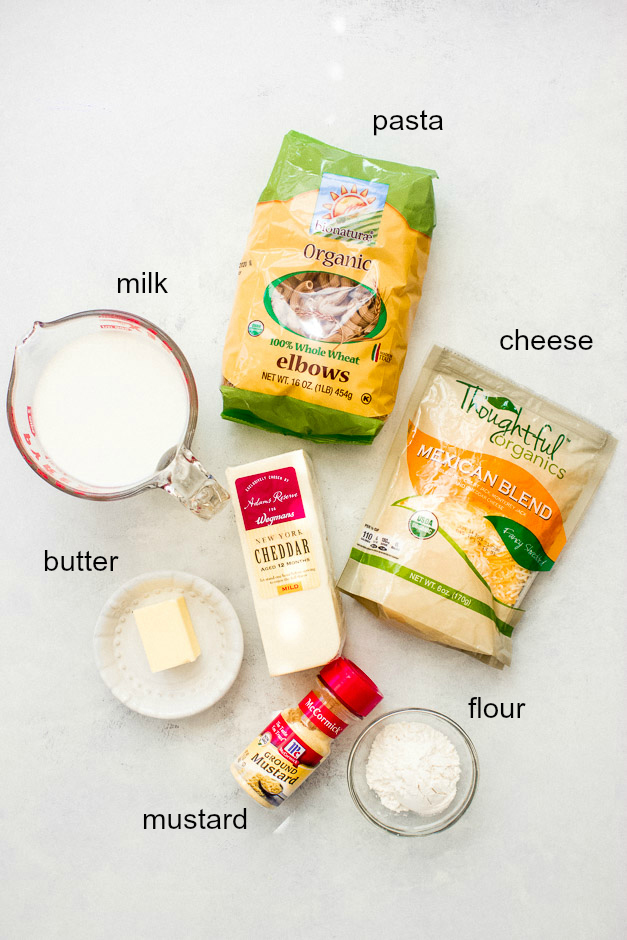 Ingredients for creamy stovetop mac and cheese