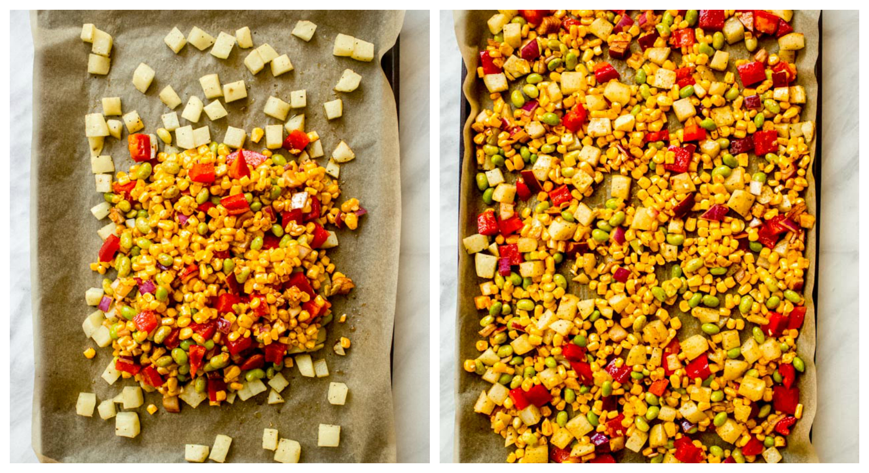 Corn succotash vegetables on a sheet pan