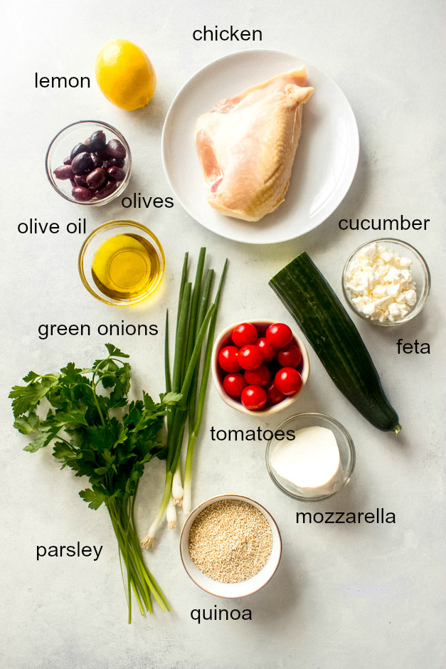 Ingredients for lemon quinoa salad