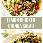 Long image of lemon chicken quinoa salad