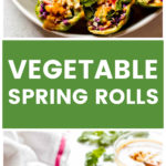 Vertical image with text overlay of close up of rice paper spring rolls