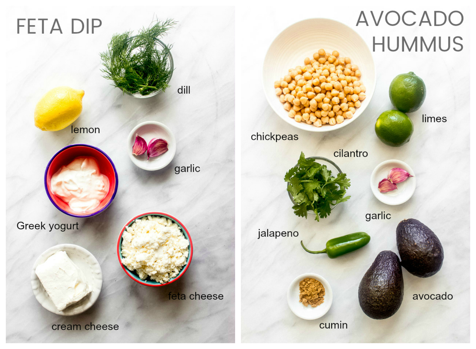 Ingredients for vegetable platter dips