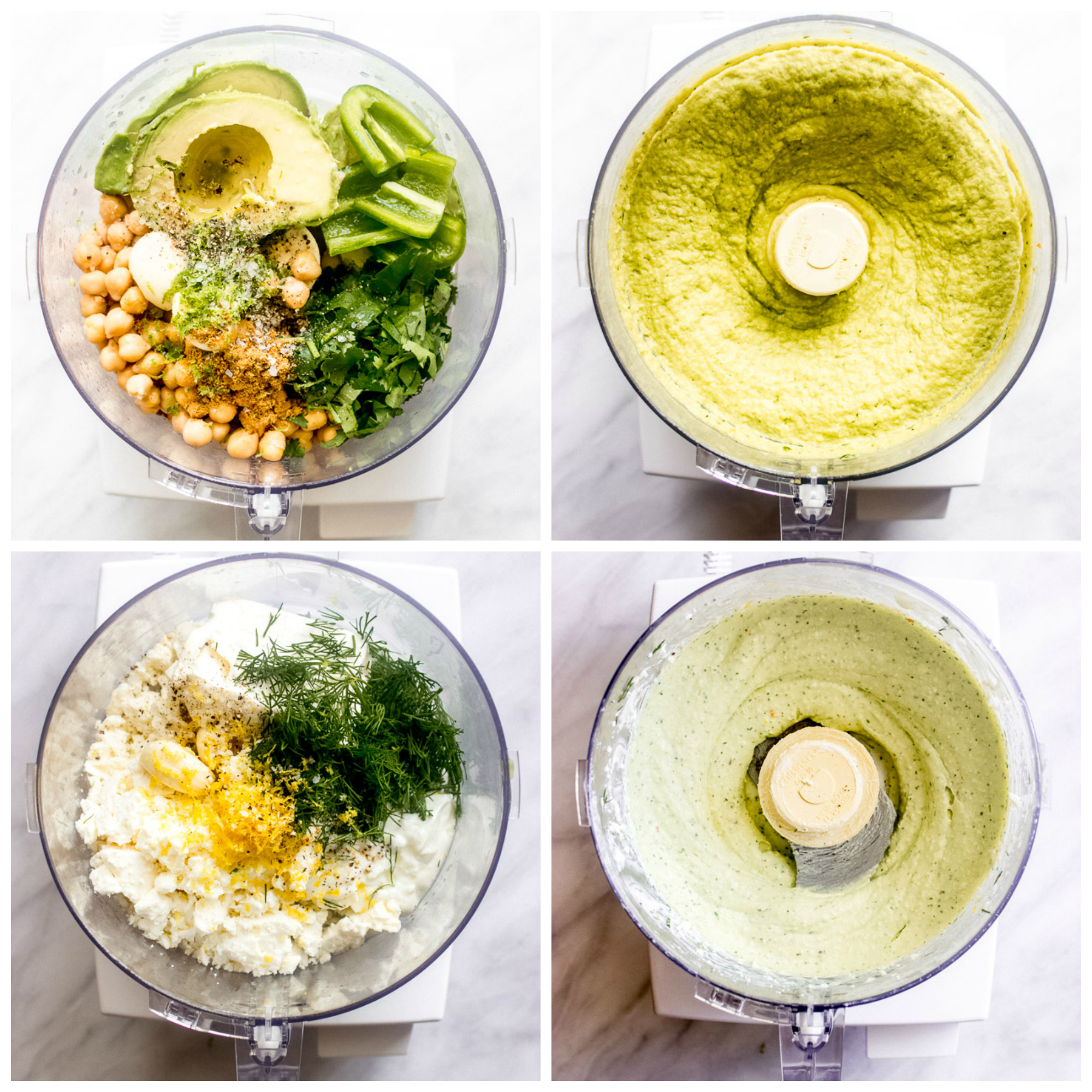 Food processor with vegetable platter dip ingredients