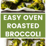 Vertical image oven roasted broccoli close up