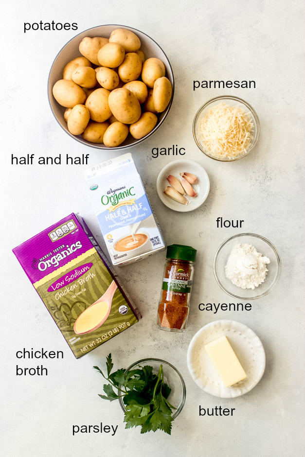 Ingredients for baby potatoes in cream sauce