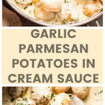Vertical image potatoes in cream sauce
